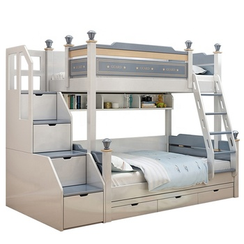Double Bed Wooden MODERN BEDROOM BED Bunk Bed Kids Furniture with Stair