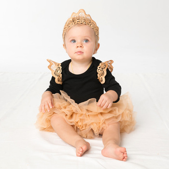 New black gold lace baby tutu skirt set long sleeve infant new born baby girl clothes