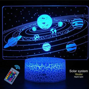 Creative 3D Visual Effect Solar System 3D Optical Illusion Lamp Touch Remote Control Night Light Great Gifts for Kids
