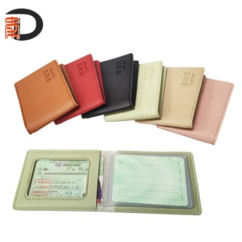 Hotselling PU Leather Slim Wallet Credit /Driver License Card Holder Case With Plastic Inner Pocket
