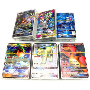 100Pcs no repeat Pokemone card 95 GX + 5 MEGA English Bling card Game Trading Card Kid Toy
