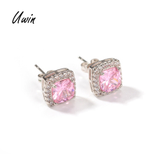 Iced Out Baguette Pink CZ Stud <strong>Earrings</strong> Square Zirconia <strong>Earring</strong> Women Bling Jewelry