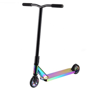 Rainbow Pro Stunt Scooter Complete Trick Scooters Aluminum Entry Level Freestyle Kick Scooters for Kids adult