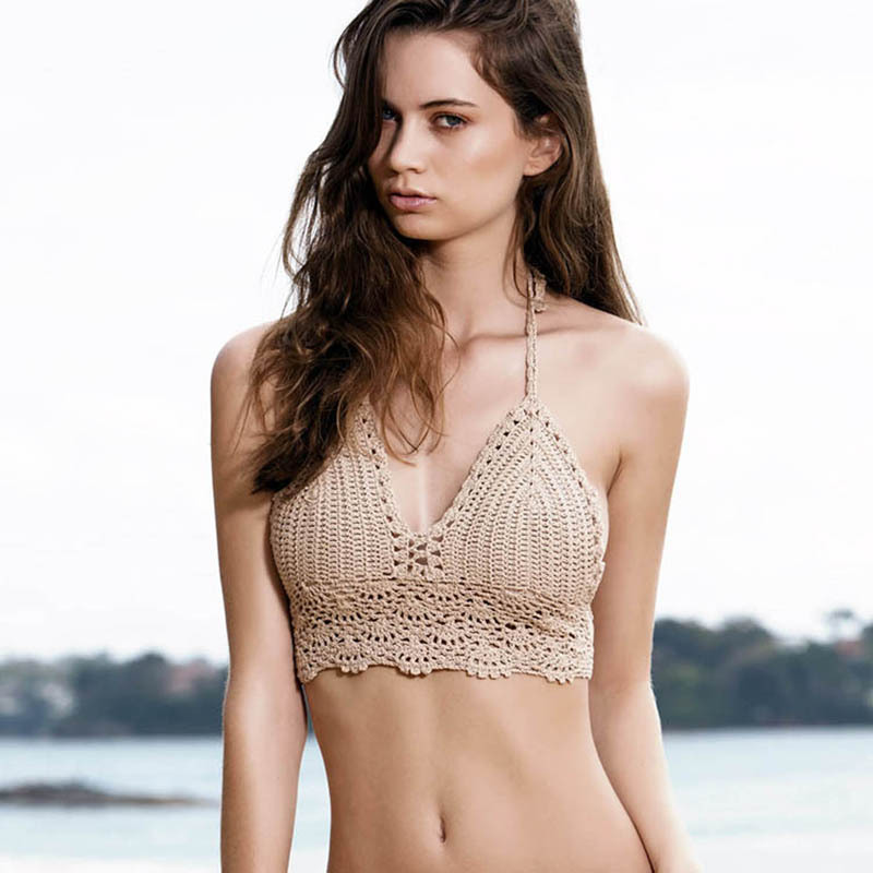 BestDance Crochet Bikini Top Beach Swimsuit Knitted Swimwear Knit Bra Womens Girls