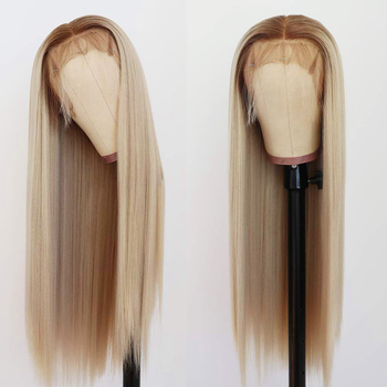 Long Straight Synthetic Lace Front Hair Ombre 613 Blonde Wig