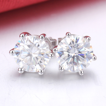Starsgem 925 Silver Diamond Moissanite 1ct 6.5mm Sterling Silver Stud Earrings