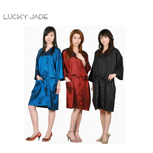 Women Long Sleeve Kimono Client Uniform Crinkled Shining Nylon, Hair Salon Smock Gown Robes Capes and Stylist Haircut Apron