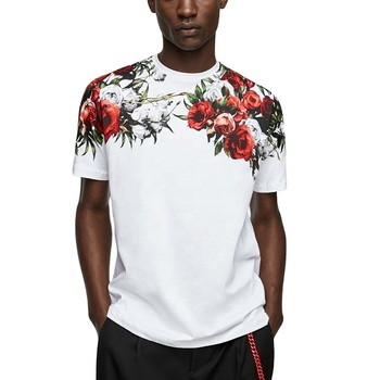 Garment factory in china wholesale white men t-shirt with shoulder rose print