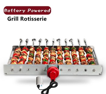 Portable Battery powered Grill Rotisserie with 11 Skewers