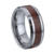 Black ring Ceramic Flat Top Wedding Band Ring with Wood Inlay Comfort Fit