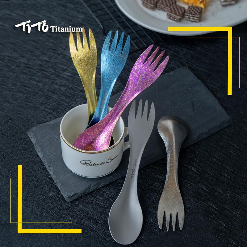 TiTo Tenedor cuchara de titanio ligero port/átil al aire libre cena cuchara tenedor cena cubiertos al aire libre camping spork con abrebotellas