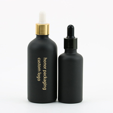10ml 30ml 50ml 100ml custom Logo Matt <strong>Black</strong> paint frosted glass essential oil dropper bottle <strong>black</strong> serum bottle wholesale bamboo