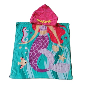 Kid's Bath Towel with Hood Cotton Velour Fabric with Customised Design Printing