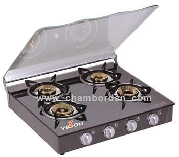 Commercial and Household Table Tempered Glass Cast Iron 4 Burner with Brass Cap Gas Cooktop with Cover