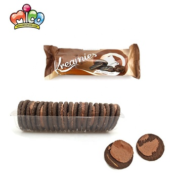 2020 New Yummy Halal Chocolate Flavor Sandwich Black Biscuit And Cookies