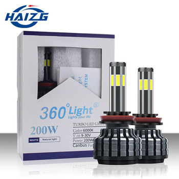 HAIZG Newest auto lighting system 6-side illuminated led lights H1 H4 H7 H11 9005 9006 three colors Car Led headlights
