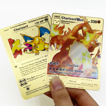 RTS Shiny 1st edition Charizard Vmax Blastoise Venusaur Custom Design Gold Metal Trading Game Cards