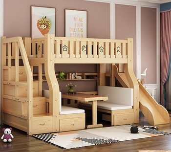 wooden baby bunk bed for kids slide with desk bunk bed bedroom with mattresses kids bunk bed for girls with storage