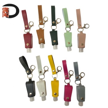 RTS PU leather hand sanitizer holder with short lanyard and empty bottle, travel size keychain sanitizer holder