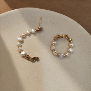 2020 Korean high end French elegant real gold plated 925 silver needle freshwater pearl hoop earrings for women