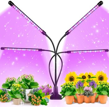 Grow Light Tri Head Timing Dimmable Levels Plant Grow Lights for Indoor Plants with Red Blue Spectrum