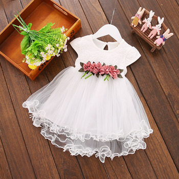 2021 New fashion style Summer toddler girls frock one piece dress rose decoration kids dress for one year old baby