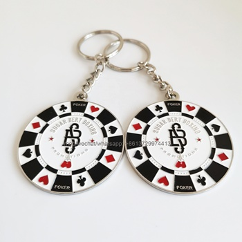 custom round shaped metal poker cards player chips playing cards promotions key ring/tag/pendant/charm/chain/holder/fob/trinket
