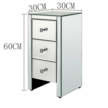Free Shipping Modern Bedroom Furniture 3 Drawer Mirrored Glass Nightstand Bedside Table