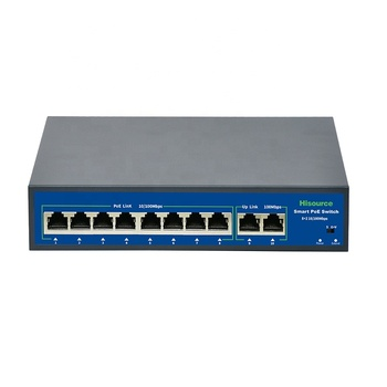 Hisource 52V ethernet 8 port poe switch 10/100/1000 250M cctv poe switch
