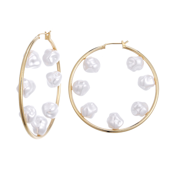 Farfetch Fashion 18K Real gold plated 2020 New Design Trendy Fashion Bohemian Jewelry Big Pearl Hoop Earring