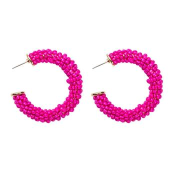 INS High Quality Multi Layer Beads C Shape Earrings Little Rose Red Color Acrylic Seed Beaded Round Circle Hoop Earrings