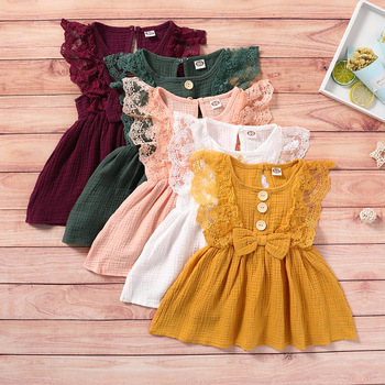 Fashion summer kids dresses blank muslim lace sleeve smocked waist bow frocks soft baby girl dress