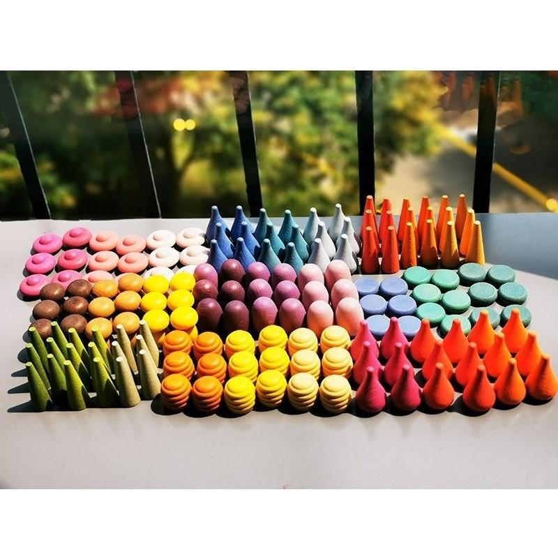 Creative Building Blocks for Children Rainbow Block Loose Parts Mushroom Honeycomb Droplets Tree cones Cones Kids Gifts Kids Wooden Toys