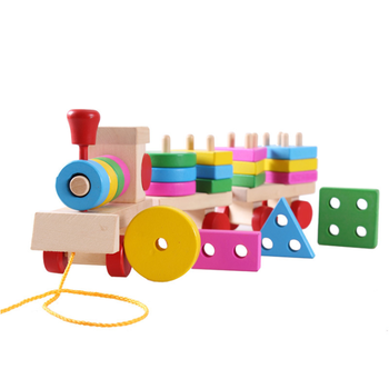 Amazon Hot Selling wooden Train Set Colorful and Geometric recognized Geometric Sorting Stacking train
