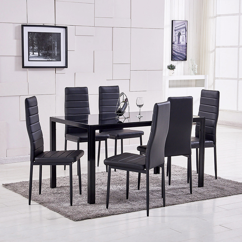 Dining Table Modern Tempered Glass Top Black Legs and PU Leather Chair Furniture