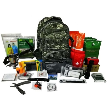China wholesale camo bag emergency survival backpack kit