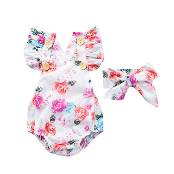 Bulk backless baby bodysuit flower summer 2020 new born baby girl clothes