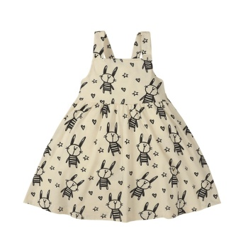 Adorable Baby Girl Animal Print Dress Kids Suspender Backless Frock