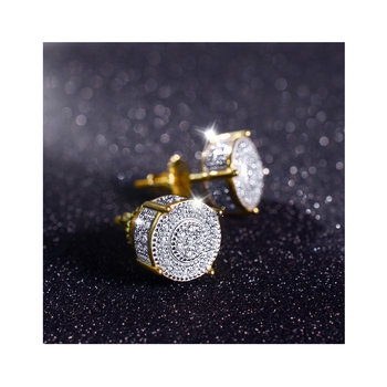 22k gold plated copper brass gemstone cz diamond round mens screw back sets modern plain silver earring