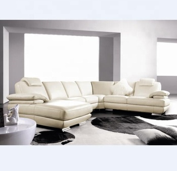 Furniture Living room modern sectional u shaped leather sofa