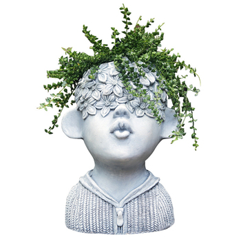 Decorative Figurine Head Planter Statue Cool Face Flower Pot for indoor Patio Lawn Garden Yard Decor