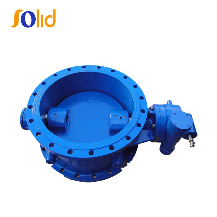 Hot Selling Double Iron Metallic Seated Flang End Gear Box Operated Resilient Sealing Double Eccentric Butterfly Valve