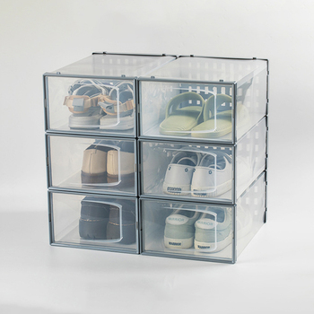 Stackable Shoe Storage Box For Organizing Sneakers, Clear Container Organizers For Shoes//
