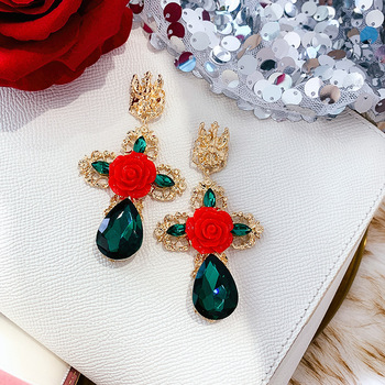 green crystal red rose large drop earrings
