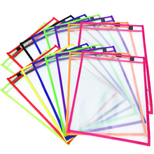 Classroom Student Reusable OEM 10x13.5 Inch 15-pack Neon Reusable Dry Erase Pockets Sleeves Charts Folder