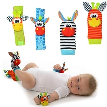 Infant Baby Kids Socks rattle toys Wrist Rattle and Foot Socks 0~24 Months