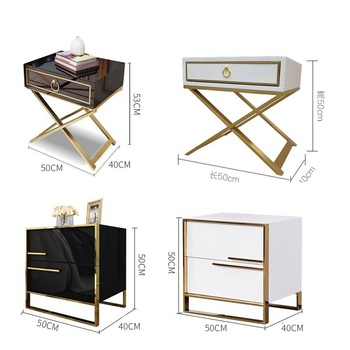 luxury high gloss black white bedside table bedroom furniture night table bed side table Nightstand