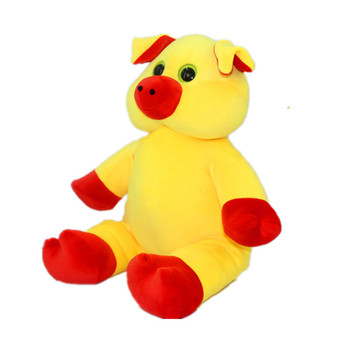 Custom fat yellow stuffed animals sitting yellow plush pig