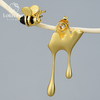 Lotus Fun 925 Sterling Silver Honey bumble Bee Earrings Asymmetrical Stud Earrings Handmade Fine Jewelry for women 2020