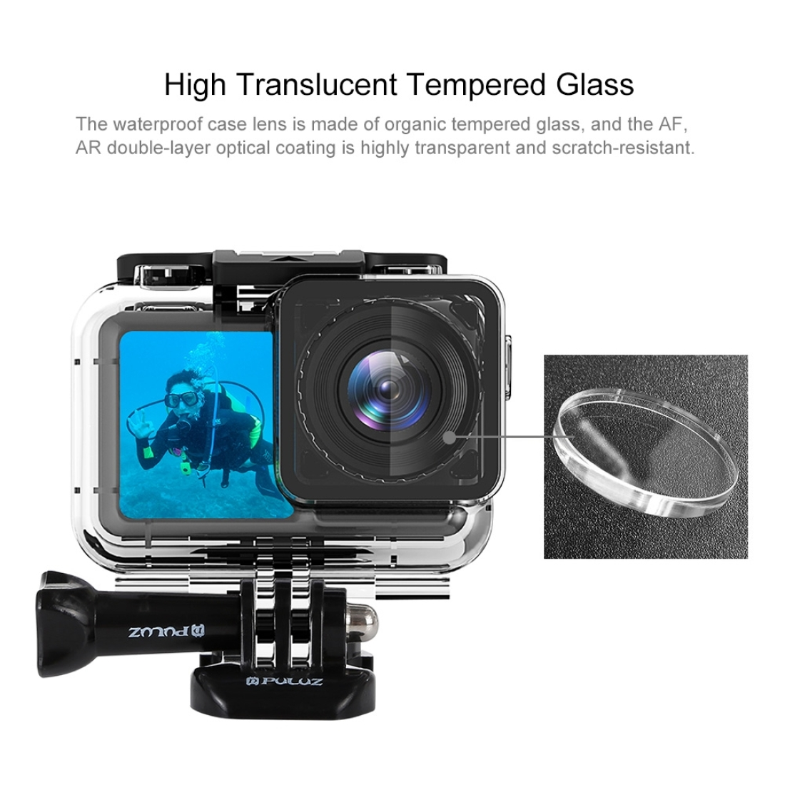 PULUZ 61m Underwater Waterproof Housing Diving Case for DJI Osmo Action, with Buckle Basic Mount & Screw